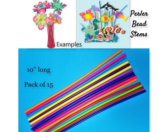 15, Perler Bead Stems, Melting Bead Items, 3-D Dimensional Flowers, Perler Stems, Perler Beads, Colorful Stems, Perler Beads Lot