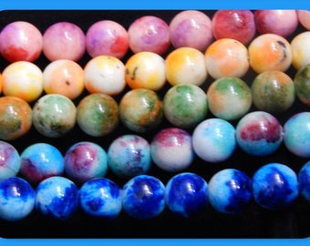 40+ Beads, Natural Jade Beads, Smooth Beads, Round Beads, Gemstone Beads, 10mm Beads, Dyed Jade Beads, Mixed Colors, Necklace Beads, #B35