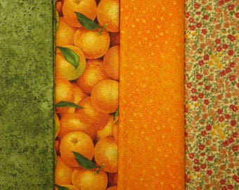 4 Half Yard Cuts 2 YARDS TOTAL  Makower Oranges