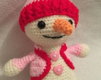 Amigurumi Christmas happy snowman pink