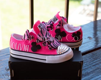 Minnie Mouse Bling Shoes, Minnie Mouse Bling Converse, Personalized Shoes, Zebra Print Minnie Mouse Shoes, Pink Converse, Animal Print Shoes