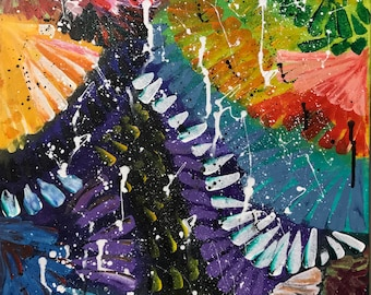 Colorful Birds Feather Modern Art