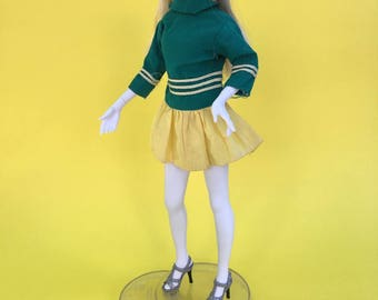 Sale item! Fit Sindy, fit Barbie, vintage doll clothes, fashion doll dress, doll mini dress, green and yellow, doll dress, long sleeves