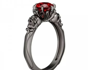 925 Skull and Ruby Ring