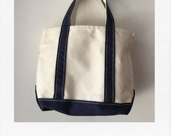 LL Bean navy/cream cotton boat and tote - medium