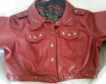Distressed Red Studded Jacket