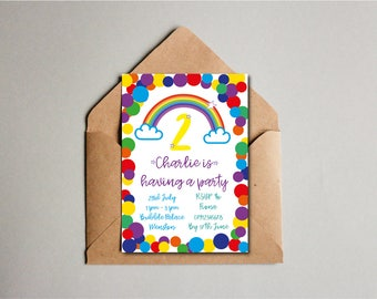 Spotty Dotty Rainbow Birthday Party Invite, Children's Birthday Invite, 2nd Birthday, Kids Birthday, Custom Printable