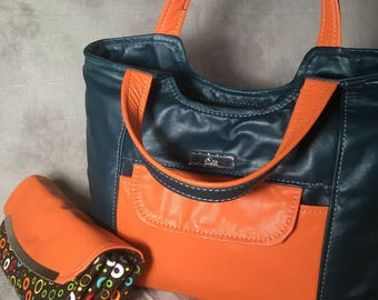 Green and orange all leather Rode handbag, genuine leather