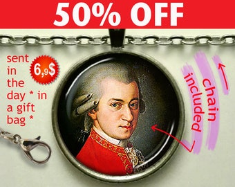 Mozart necklace, Mozart pendant, music lover gift, music teacher gift, classical music, symphony lover gift, composer key chain N846