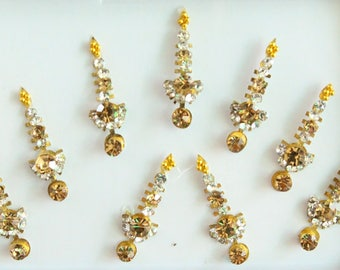 9 Gold Face Jewels,Wedding Long Bindis Face Jewels,Stone Bindis,Gold Bindis,India Bindis,Bollywood Bindis,Long Bindis,Self Adhesive Stickers