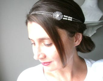 Headband-wedding-ceremony silver glass beads and cream flowers.
