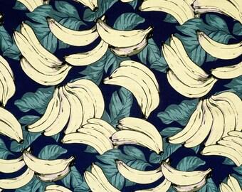 Banana and Banana leaf Fabric on Navy
