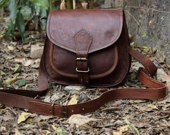 9 Inches Handmade Genuine Leather Satchel Messenger Bag, Ladies Side Sling Purse Wallet Bag