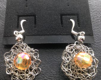 Dangle Earrings - Silver color wire crochet with an 8mm copper color crystal glass center bead.