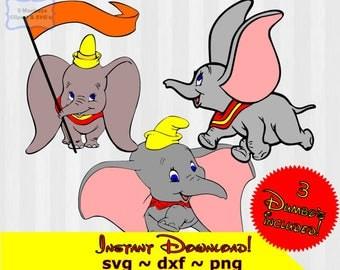 Dumbo svg, Dumbo Clip art, Dumbo clipart, svg files, SVG files for Silhouette or Cricut, dxf, Disney svg,DIY disney decorations,disney shirt
