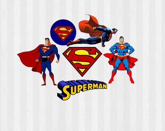 Superman Bundle Download, Superman Digital Clip Art, Superman SVG, PNG Files, svg Files for Silhouette Cameo, Print and Cut, Scrapbook,DIY