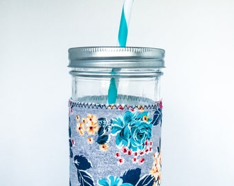 Mason Jar Tumbler // BLUE ROSE // Tumbler // 24oz Mason Jar Tumbler with Blue Rose Cuff // Reusable // Gift for her