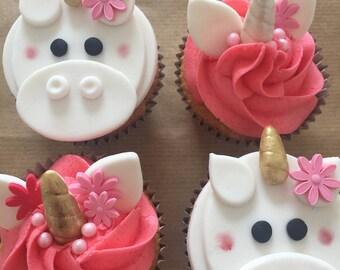 Unicorn cupcake topper set