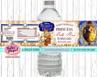 10 Beauty and the Beast New Movie Gold and Blue Water Bottle Labels - Party Favor Ideas