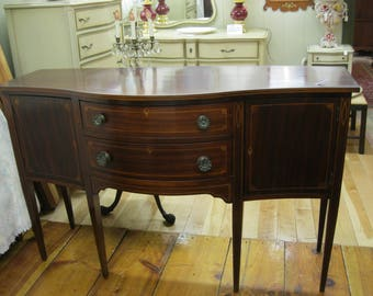 Mahogany Serpentine Bow Front Sideboard Buffet Server - #00431