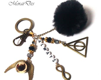Harry Potter Film Fashion Keychain - ALWAYS Snape - Infinity Symbol - Black Pom Pom - Harry Potter Triangle - Elder Wand - Golden Snitch