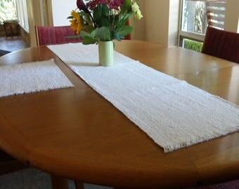 Table Runner-Natural White Handwoven
