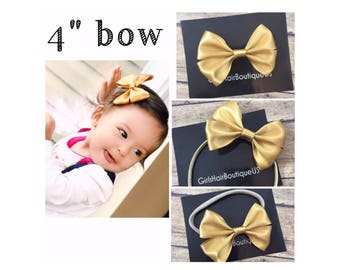 Gold baby bow headband  Gold  baby hair clip Girl nylon bow headbands Gold bow hair band for girls Baby shower gift