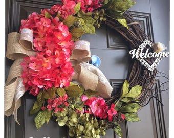 Everyday wreath - Summer wreath - Spring wreath - Pink hydrangeas  wreath - Front door wreath - door decor