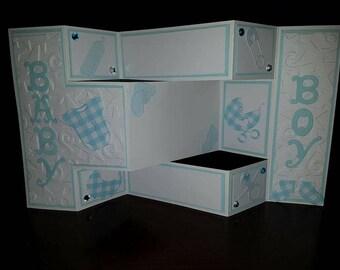 New Baby Boy Girl Tri Fold  Shutter Personalised Handmade