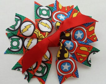 Handmade Super Hero accessory, clip, hair bow, rosette.