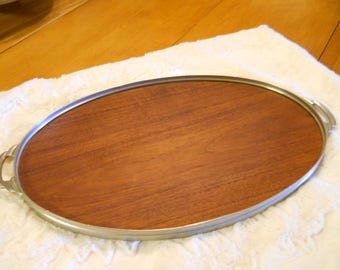 Wood and Metal Vintage Tray circa 1970's Made in Holland