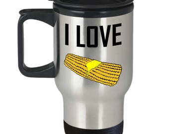 Corn Cob Travel Mug - I Love - On The Summer Harvest Fun Coffee Cup