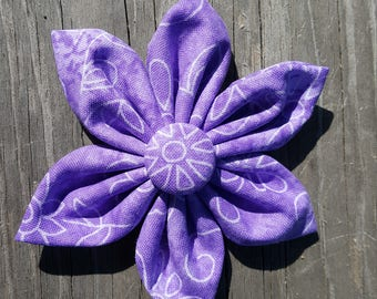 Purple Flower Fabric Bow