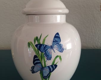 Vintage FTD blue butterfly vase with lid