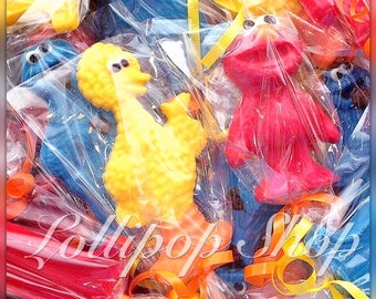 12 Sesame Street chocolate lollipops (Birthday, sesame street party favors, Elmo, Big Bird, Cookie Monster)