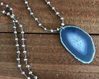 Long blue agate necklace