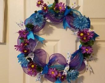 Deco Mesh Wreath, Summer Wreath, Spring Wreath, Front Door Wreath, Door Wreath, Deco Mesh, Wreath, Flowers, Blue, Purple