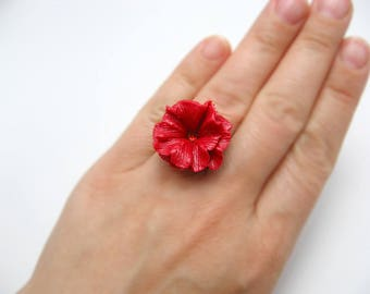 Flower ring polymer clay adjustable ring polymer clay floral