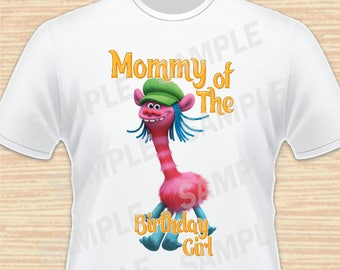 Mommy of the Birthday Girl. Cooper, Trolls Digital File. Personalized Family Shirts, Birthday Party, Iron on Transfer, Printable 2. Instant