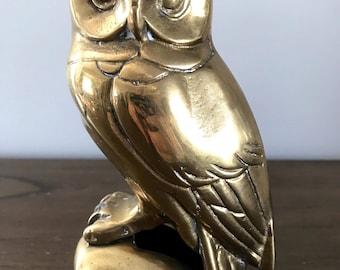 Vintage Brass Owl   Mid Century Brass Figurine