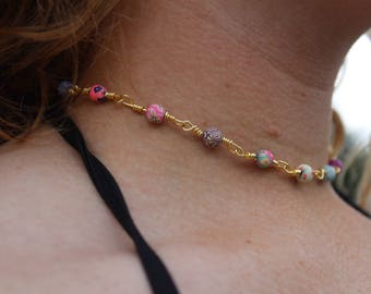 Multi-Colored Flower Bead and Gold Chain Necklace