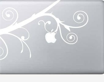 Swirl branch decal for macbook pro