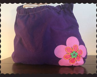 Hand Embroidered Purple Sling Bag
