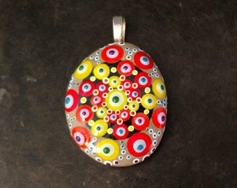 Rainbow Mandala Pendant, Rainbow Pendant, Rainbow Gift, Unique Pendant, Dot Art Pendant, Hand Painted Jewelry, Gift For Her, Tiny Art