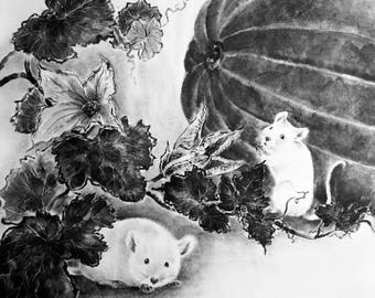 We are here Japanese inkpainting Suibokuga Sumi-e Japanese art Rice paper BlackWhite Picture as a gift for interior pumkin mouse autumn