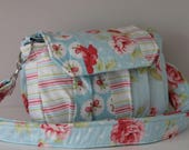 Ready to Ship Shabby Chic Rose Padded Digital Camera Bag Will Hold the Canon Rebel DSLR 55mm or 300mm lens attached