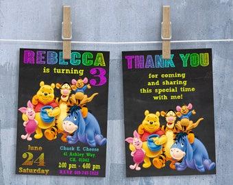 Winnie the Pooh Invitation, Winnie the Pooh Invitations, Winnie the Pooh Birthday Invitation with Free Thank You Card, Personalized JPEG