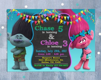 Trolls Sibling Invitation, Trolls Joint Birthday, Trolls Poppy and Branch Dual Twins Invite with Free Thank You Card, Personalized JPEG