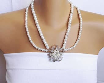 Beaded Bride necklace, Bridal Jewelry, Weddings Necklace, White pearl Jewelry