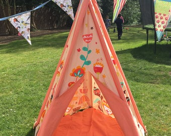 Children's Canvas Teepee - Peach flower design
